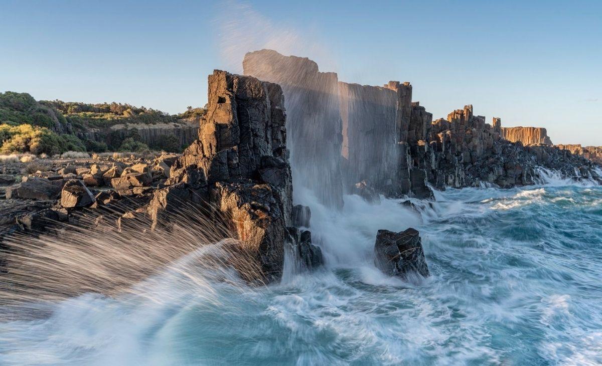 Rock sea wall